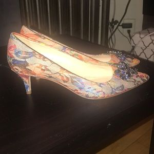 Bejeweled j crew kitten heel pumps